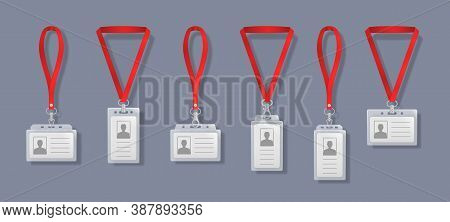 Professional Identification Card Holders With Laces. Blank Plastic Access Badge, Name Tag Holder Wit
