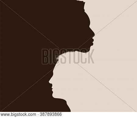 Racial Equality Anti-racism Concept Poster. Profile Head Silhouette Of African American Man Intersec