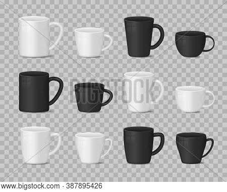 Realistic Blank White And Black Coffee Mug Cups On Transparent Background. Hot Drink Container Cup C