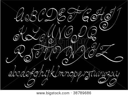 Vector free hand calligraphic alphabet, uppercase and lowercase letters.