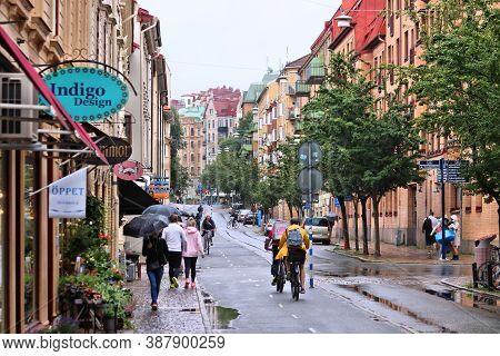 Gothenburg, Sweden - August 27, 2018: People Visit Rainy Olivedal District Of Gothenburg, Sweden. Go
