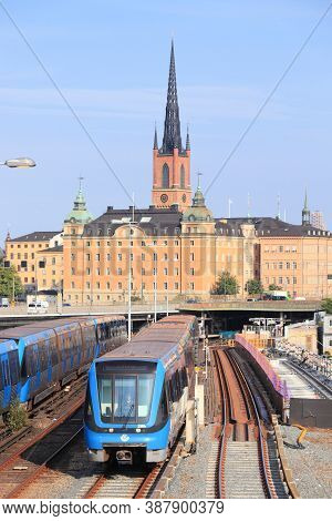 Stockholm, Sweden - August 24, 2018: People Ride Blue Metro Trains In Stockholm, Sweden. Stockholm I