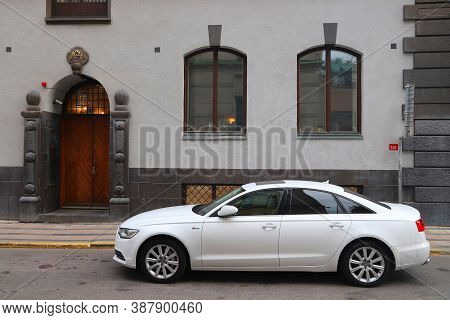 Stockholm, Sweden - August 24, 2018: White Audi A6 S-line Car Parked In Stockholm, Sweden. There Are