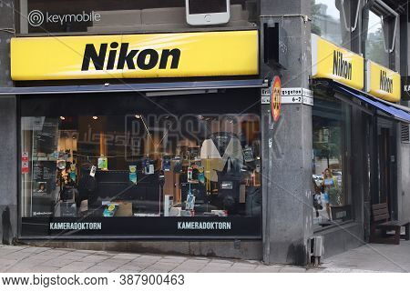 Stockholm, Sweden - August 24, 2018: Photography Store Specializing In Nikon Brand Equipment In Stoc