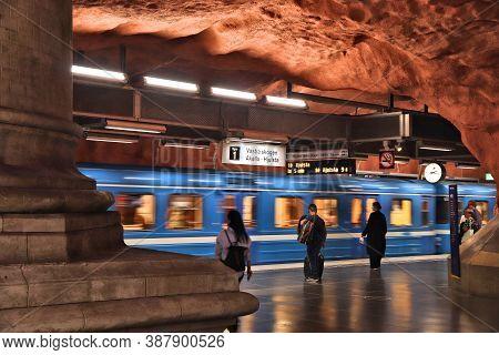 Stockholm, Sweden - August 24, 2018: People Ride Stockholm Metro (t-bana) In Sweden. Stockholm Metro