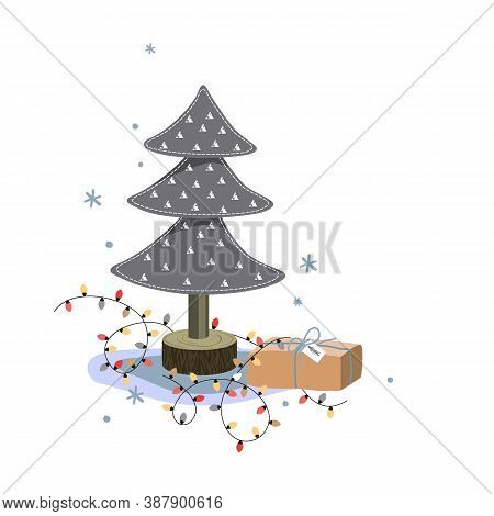 Miniature Felt Fir Tree, Christmas Gift Box, And Bright Lights On White Background. Holiday Greeting