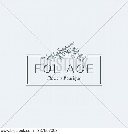 Flowers Abstract Vector Sign, Symbol Or Logo Template. Hand Drawn Sketch Branches Illustration With