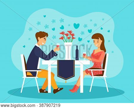 Loving Couple On A Date In A Restaurant. Valentines Day Celebration Or Romantic Dinner.