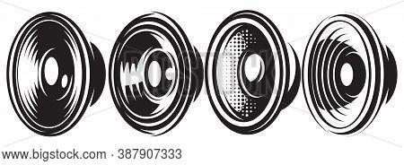 A Set Of Different Monochrome Speakers. Vector Illustration. Elements For Design.
