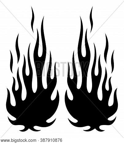 Tribal Flames Silhouette Vector Art Isolated On White Background. Can Be Used For Hotrod And Muscle