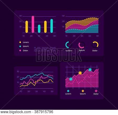 Progress Charts Ui Elements Kit. Curves And Bar In Graphs. Infographics Isolated Vector Icon, Bar An