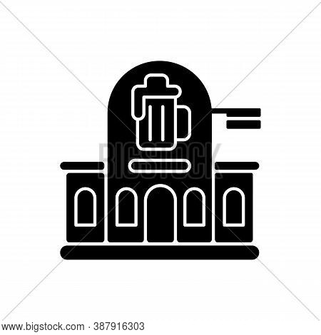 Pub Black Glyph Icon. Bar Front To Drink Ale. Beer Store. Alcoholic Beverage Shop. Brewery For Ale A