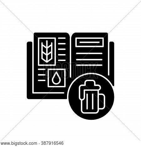 Beer Recipe Black Glyph Icon. Brewery Production. Lager In Bar Menu. Ingredients For Alcoholic Drink