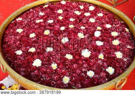 Flower Decoration In Big Flower Bass(flower Pot) Use In Hotel Lobby, Marriage Function, Party.flower