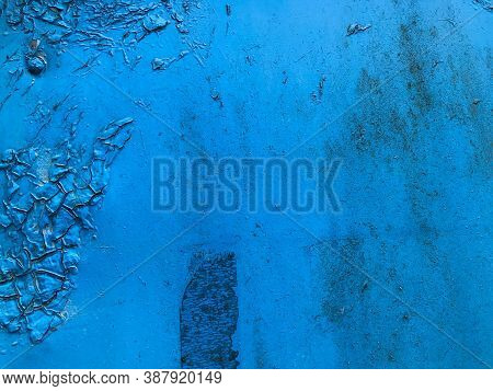 Texture In Blue. Bright, Matte Surface. There Is A Patch On The Texture, Old Texture With Damaged Pa