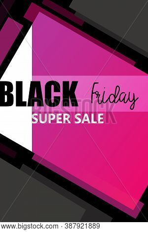 Black Friday Super Sale Banner Illustration Design With Black And Pink Tone , Black Friday Promotion