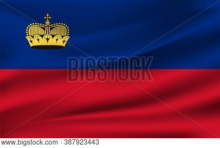 Realistic Waving Flag Of The Liechtenstein. Fabric Textured Flowing Flag,vector Eps10