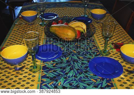 Although This Shot Is Not Recent, We Used This Same Colorful Table Setting For Dinner Last Night. Pr