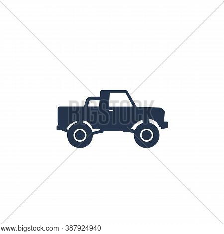Pickup Truck Icon On White, Eps 10 File, Easy To Edit
