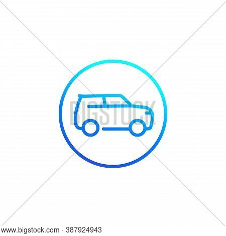 Suv Car, Simple Line Icon, Eps 10 File, Easy To Edit