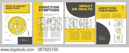 Gadget Addiction Symptoms Brochure Template. Health Effect, Treatment. Flyer, Booklet, Leaflet Print