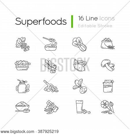 Superfoods Variety Pixel Perfect Linear Icons Set.organic Vegetables Options. Healthy Lifestyle Idea