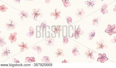 Spring Sakura Japan. Vector Apple Branch. Oriental Asian Wallpaper. Watercolor Wedding Repeat. Pink