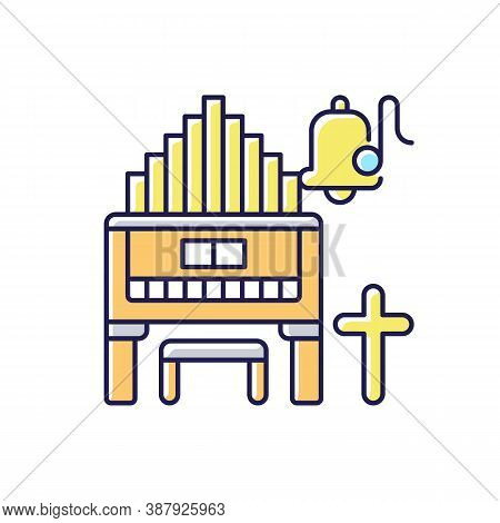 Religeous Music Rgb Color Icon. Huge Organs. Piano Types. Bell With Song Note. Christian Music. Cros