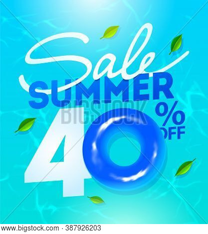 Off Summer Sale Template Poster, Vector Illustration. Water Ripple Background. Summer Sale Poster