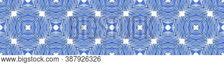 Blue Seamless Border Scroll. Geometric Watercolor Frame. Adorable Seamless Pattern. Medallion Repeat