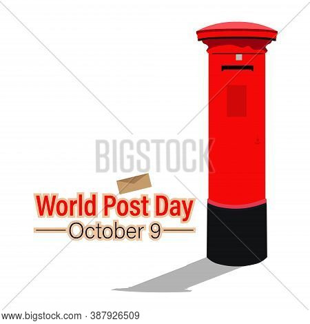 World Post Day, October 9. Conceptual Design Illustration Vector For World Post Day With World Map A