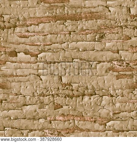 Beige Crackle Paint. Worn Shabby Texture. Antique Break Poster. Natural Wooden Wallpaper. Crackle Pa