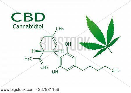 Chemical Structure Of Cannabidiol. Cbd.  Cannabis Leaf.