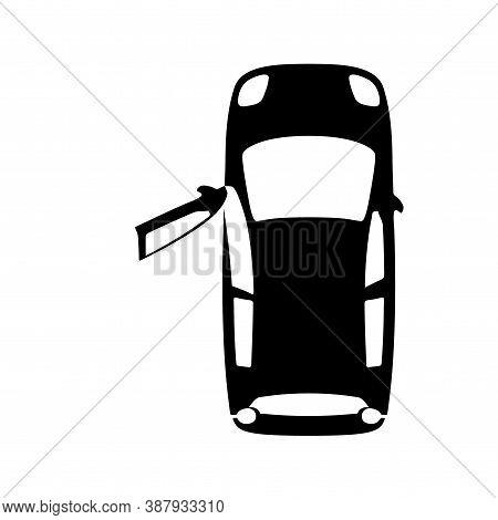 Midget Black Car With Open Door, Top View Icon Isolated On White Background. Sedan Small, Mini Auto