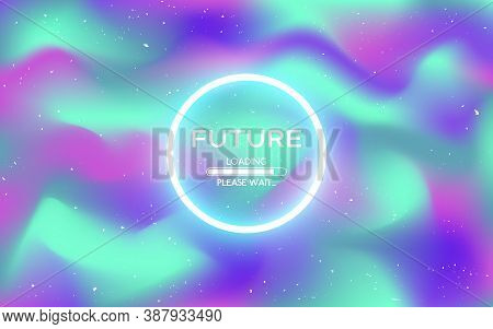 Retro Future Texture. Loading Future Concept On Holographic Backdrop. Colorful Hologram With Old Eff