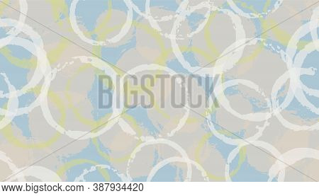 Modern Painted Circle Stamps Textile Print. Circular Splotch Overlapping Elements Vector Seamless Pa