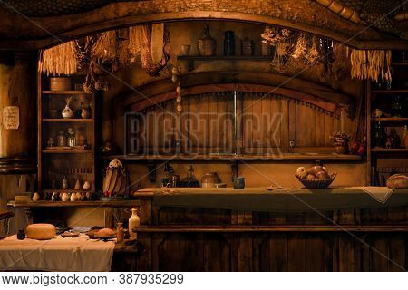 The Green Dragon Inn From The Inside At The Hobbiton Movie Set Village, The Location Of Filming Of T