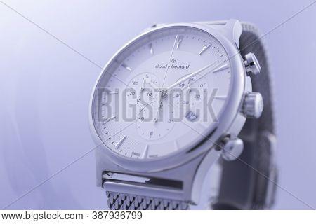 Geneve, Switzerland 01.10.2020 - Claude Bernard Man Swiss Made Watch White Dial Date Indication 17.