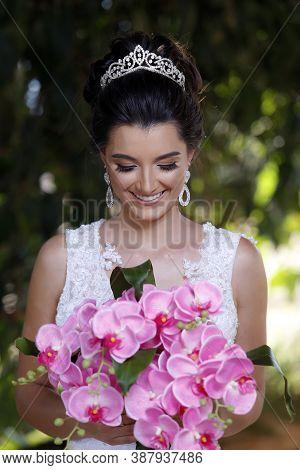 Beautiful Brazilian Bride Dressed In Wedding Attire