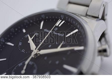 Geneve, Switzerland 01.10.2020 - Claude Bernard Man Swiss Made Watch Black Dial Swiss Watchmaker, Wa
