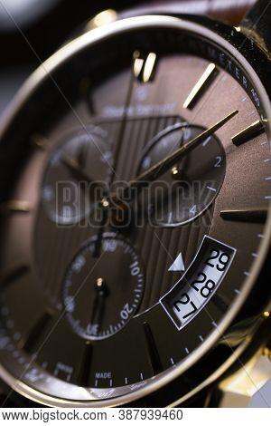 Geneve, Switzerland 01.10.2020 - Claude Bernard Man Swiss Made Watch Close Up Detail Selective Focus