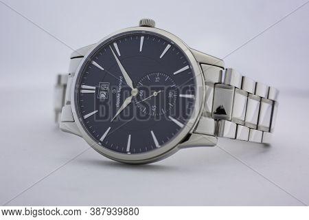 Geneve, Switzerland 01.10.2020 - Claude Bernard Man Swiss Made Watch Stainless Steel Case, Metal Bra