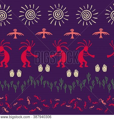 Native American Indian Vector Ethnic Tribal Motifs Seamless Pattern. Mythical Design With Gecko, Kok