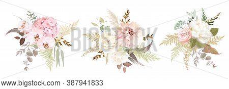 Dusty Pink And Ivory Beige Rose, Pale Hydrangea, Peony Flower, Fern, Dahlia, Ranunculus, Protea, Fal
