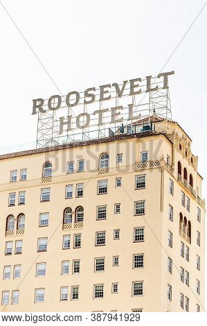 Hollywood, California - October 09 2019: Famous Vintage Hollywood Roosevelt Hotel On Hollywood Boule