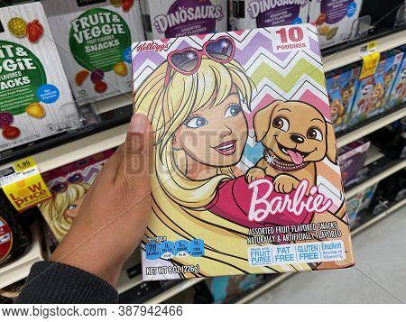 Maple Grove, Minnesota - September 14, 2020: Barbie Fruit Snacks For Children, Made By Kelloggs. Sho