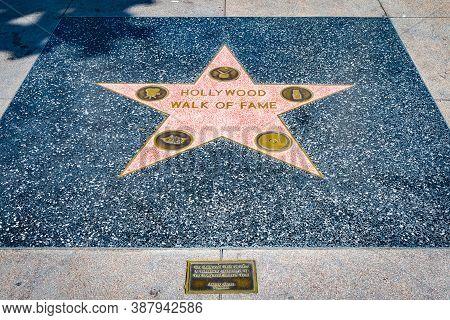 Hollywood, California - October 09 2019: Walk Of Fame Star On Hollywood Boulevard Sidewalk In Los An