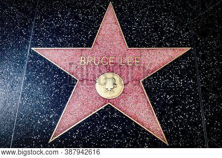 Hollywood, California - October 09 2019: Celebrity Actor Bruce Lee Walk Of Fame Star On Hollywood Bo