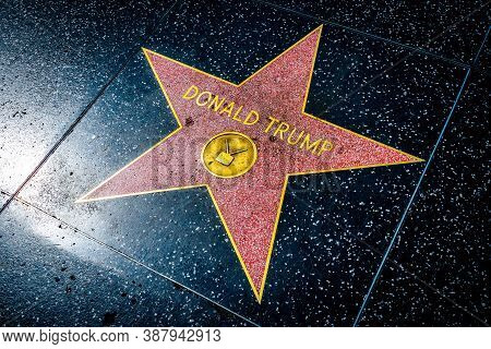 Hollywood, California - October 09 2019: President Donald Trump Walk Of Fame Star On Hollywood Boule