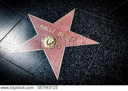 Hollywood, California - October 09 2019: Celebrity Actress Halle Berry Walk Of Fame Star On Hollywoo
